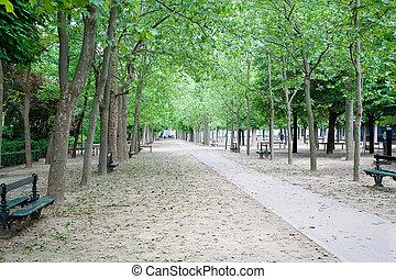 A walkway in the Jardin du Luxembourg in Paris, France