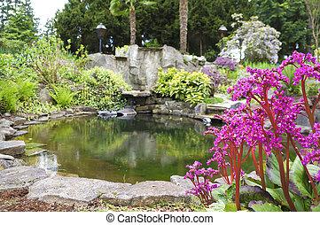 jardin eau, printemps, grand, américain, nord-ouest, rocher, maison, étang, paysage