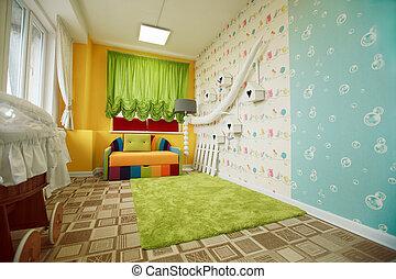 jardin enfants, décoré, sofa., salle, coloré