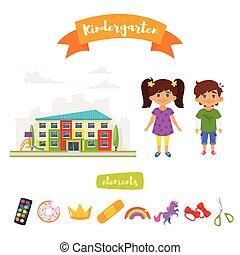 jardin enfants, ensemble, éléments