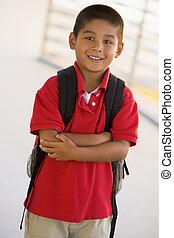 jardin enfants, garçon, sac à dos, portrait