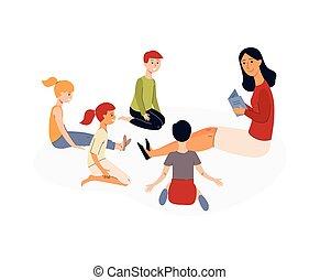 jardin enfants, gosses, education, lecture, prof, enfants, program., livre