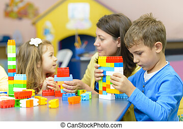 jardin enfants, gosses, jouer