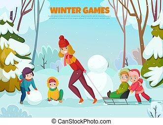 jardin enfants, hiver, illustration, promenade