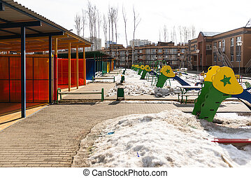 jardin enfants, hiver