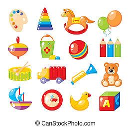 jardin enfants, images, ensemble