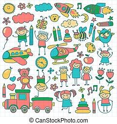 jardin enfants, images, vecteur, ensemble