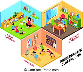 jardin enfants, isométrique, intérieur, illustration
