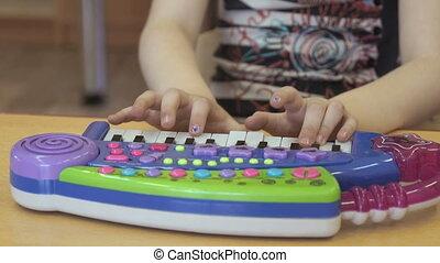 jardin enfants, jouet, jouer, pianoforte, enfant