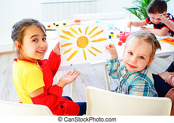jardin enfants, leçon, art
