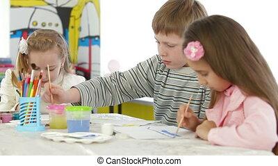 jardin enfants, peinture, enfants