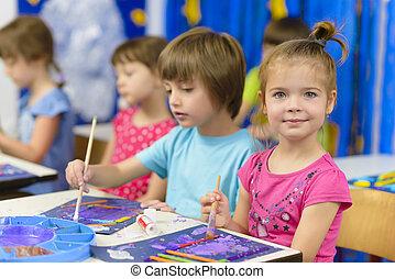 jardin enfants, peinture, gosse