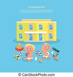 jardin enfants, plat, conception, bannière