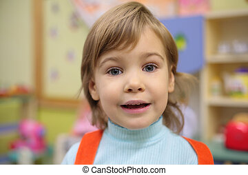 jardin enfants, portrait, girl