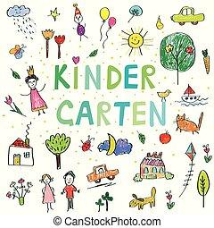 jardin enfants, rigolote, gosses, bannière, dessin