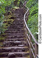jardin, escalier, rocher