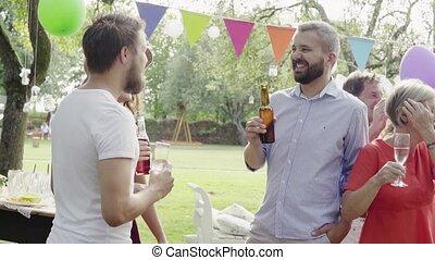jardin, famille, dehors, backyard., fête, ou, célébration