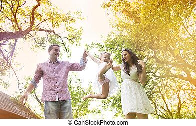 jardin, famille, enceintes