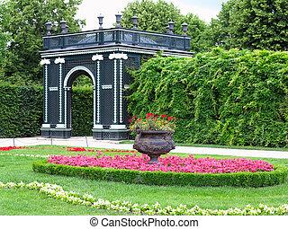 jardin fleur, parc, résumé, well-kept, arbres, lits, noir, tonnelle, tondu