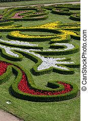 jardin fleur, république tchèque, kromeriz, château