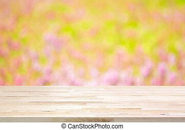jardin fleur, sommet, bois, fond, barbouillage, table