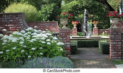 jardin fontaine, paysage