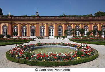 jardin, fontaine, weilburg, allemagne, hesse, château
