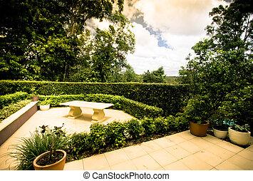 jardin formel, patio, pavé