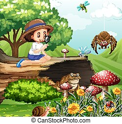 jardin, girl, scène, regarder, insectes