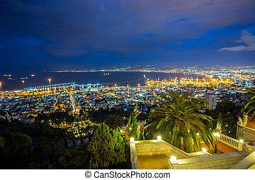jardin, haïfa, panorama, -, israël, bahai, port