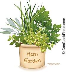 jardin herbe, planteur