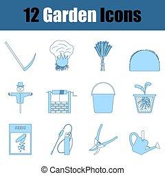 jardin, icône, ensemble