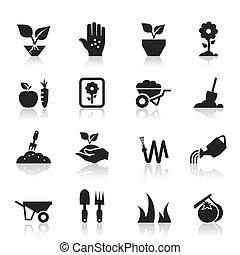 jardin, icône