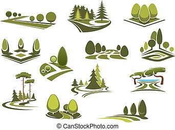 jardin, icônes, forêt parc, paysages, public