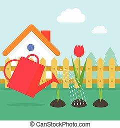 jardin, illustration, maison, vecteur, village, dessin animé