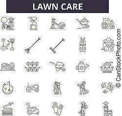 jardin, illustration:, nature, ensemble, signes, contour, ...