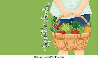 jardin, illustration, panier, légume, girl, récolte