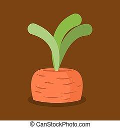 jardin, isolated., légumes, carottes, croissant, frais