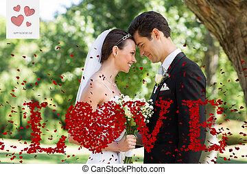 jardin, marier, image composée, récemment, couple, aimer