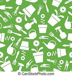 jardin, modèle, seamless, arrière-plan vert, outils