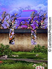 jardin, mur, arbres cerise, tranquille, brique, temple