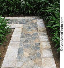 Sentier brique troit jardin long photo de stock for Jardin etroit long