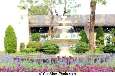 jardin, nature, parc, arrière plan flou, fontaine, fond, barbouillage