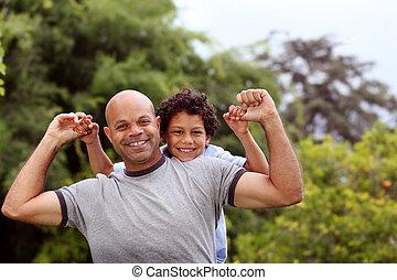 jardin, père, dos, fils, course, mélangé, jouer