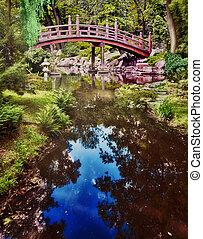 jardin, parc, printemps, -, japonaise, temps