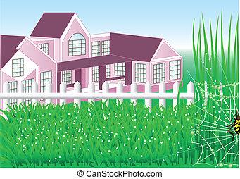 jardin pays, maison