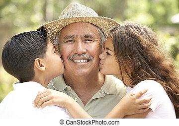 jardin, petits-enfants, grand-père