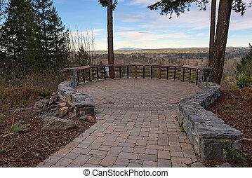 jardin pierre, pont, paver, brique, patio, vue
