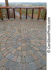 jardin, pont, brique, vue, patio, circulaire