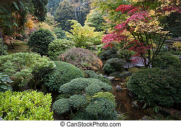 jardin, portland, japonaise, orégon